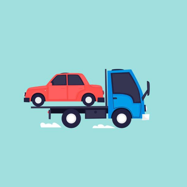 Evacuator, Auto zu fahren. Flaches Design-Vektor-Illustration. – Vektorgrafik
