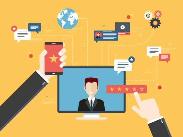 illustrations, cliparts, dessins animés et icônes de évaluation et la rétroaction en affaires. - relation client