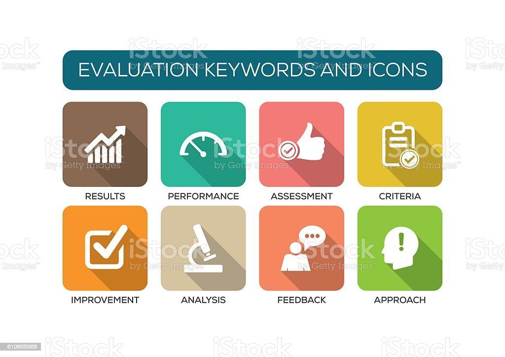 Evaluation Flat Icon Set vector art illustration