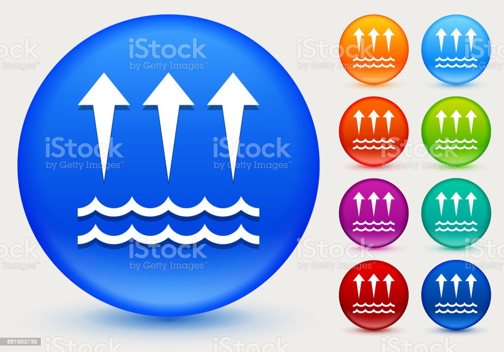 Evaporation  Icon on Shiny Color Circle Buttons royalty-free evaporation icon on shiny color circle buttons stock vector art & more images of arrow symbol