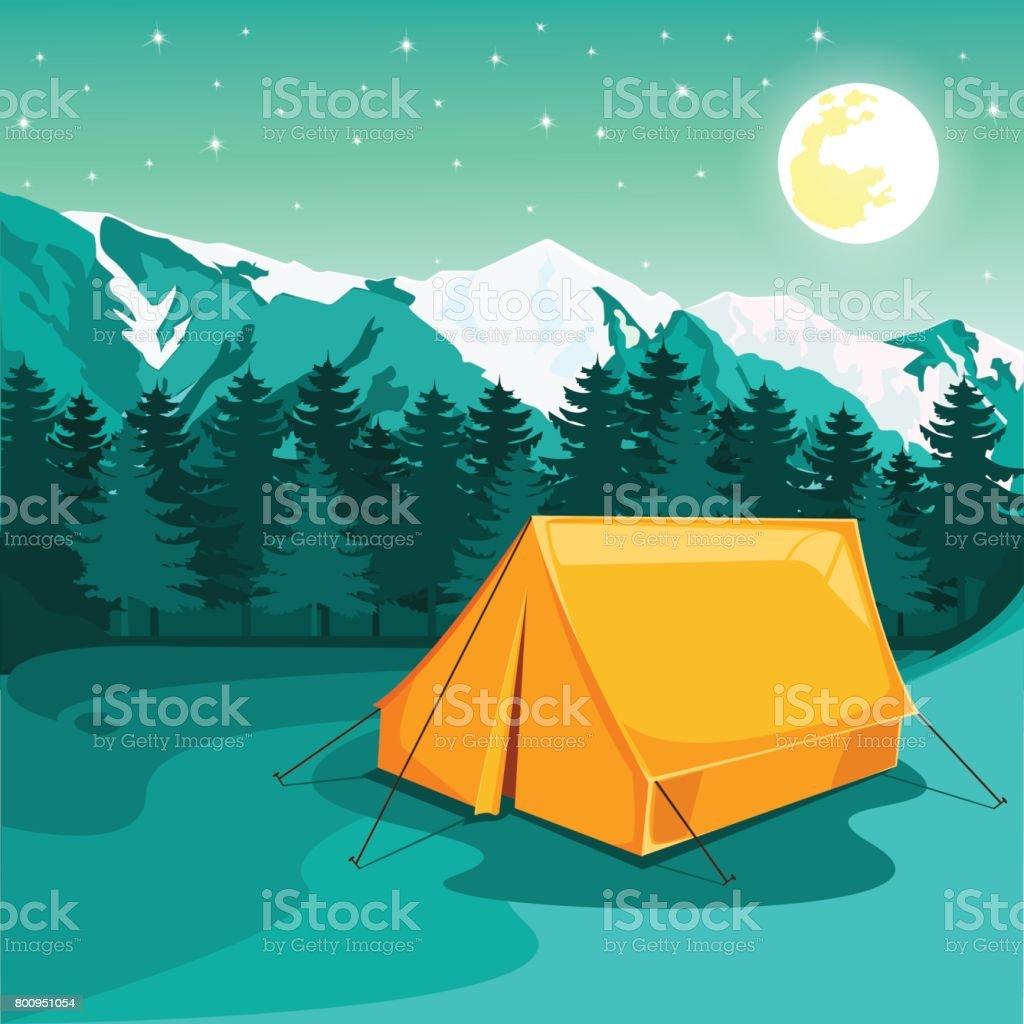 Evening camp vector art illustration