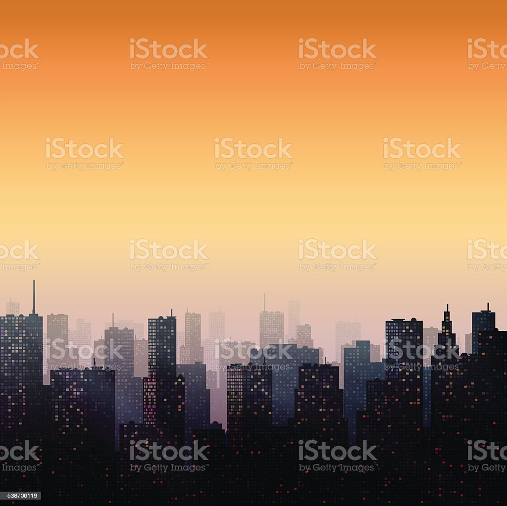 Evening City vector art illustration