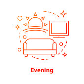 Evening concept icon. After work idea thin line illustration. Rest. Living room. Sunset. Vector isolated outline drawing