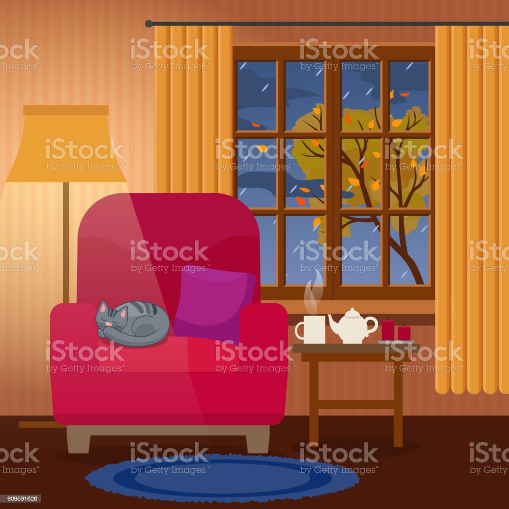 Cozy Living Room Vector Illustration: Evening Cozy Interior Of Living Room Rain Outside The