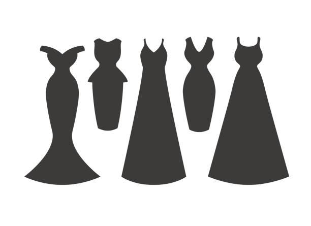 abendkleid-silhouetten-sammlung. - couture stock-grafiken, -clipart, -cartoons und -symbole