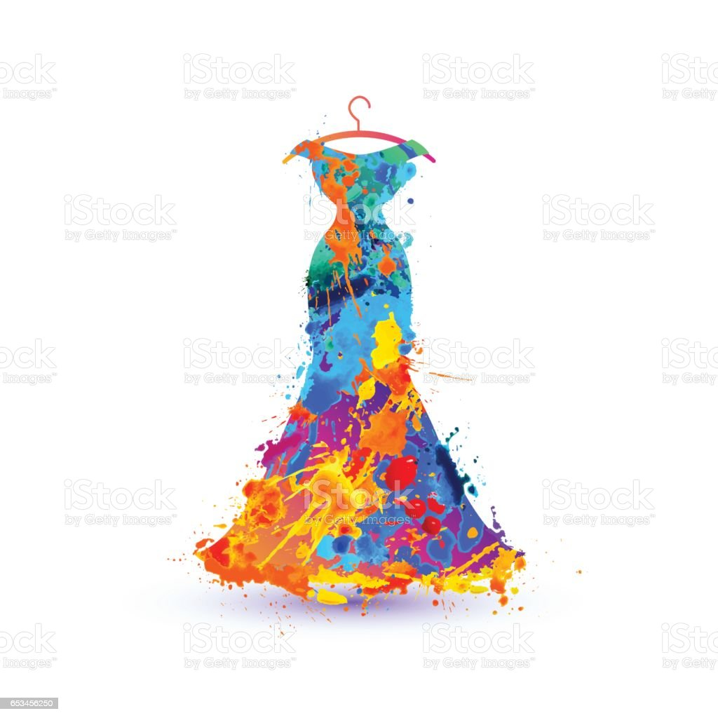 Evening dress. Splash paint vector art illustration
