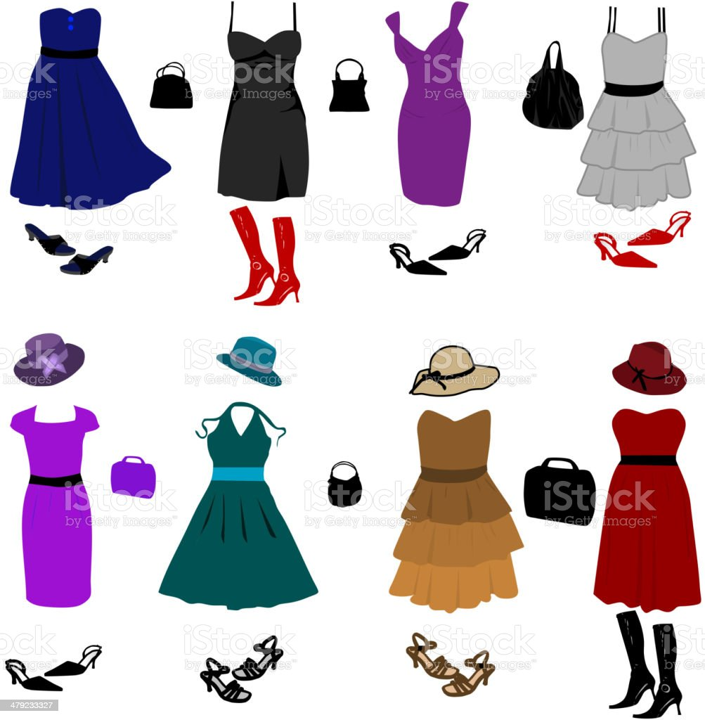 Evening dresses and accessories vector art illustration