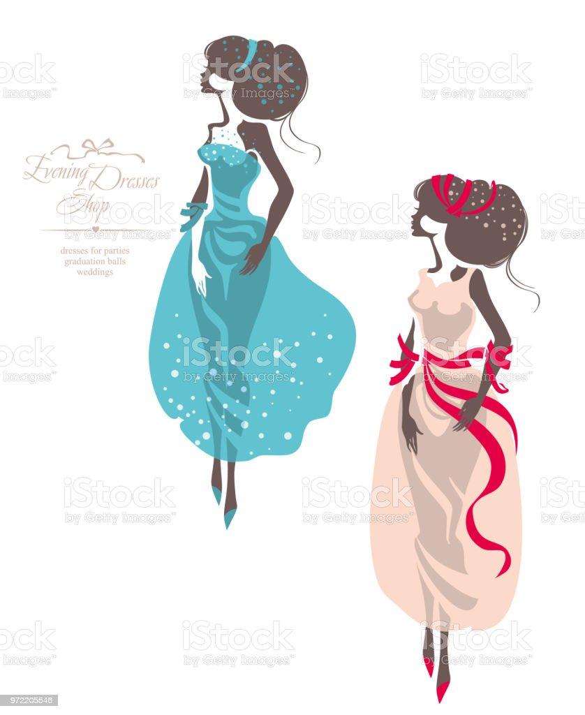 Zwei Junge Mädchen Abendkleider Stock Vektor Art und mehr Bilder