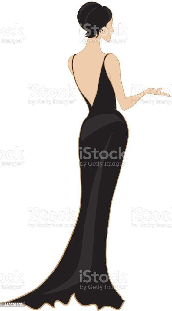 Evening gown, view from behind or back royalty-free stock vector art