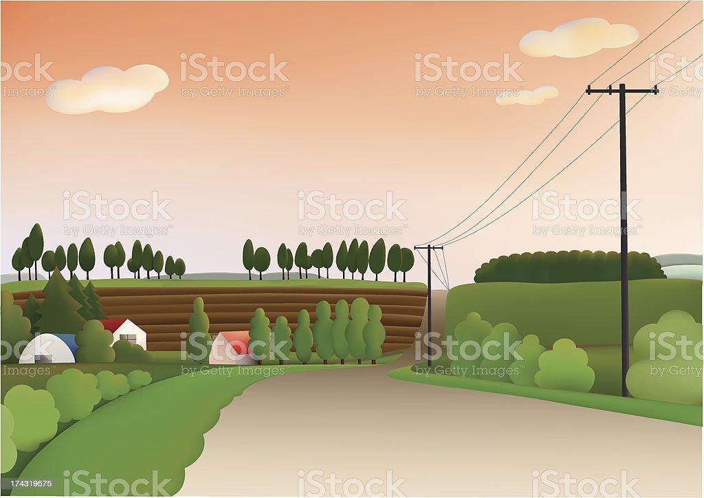 Evening hill vector art illustration