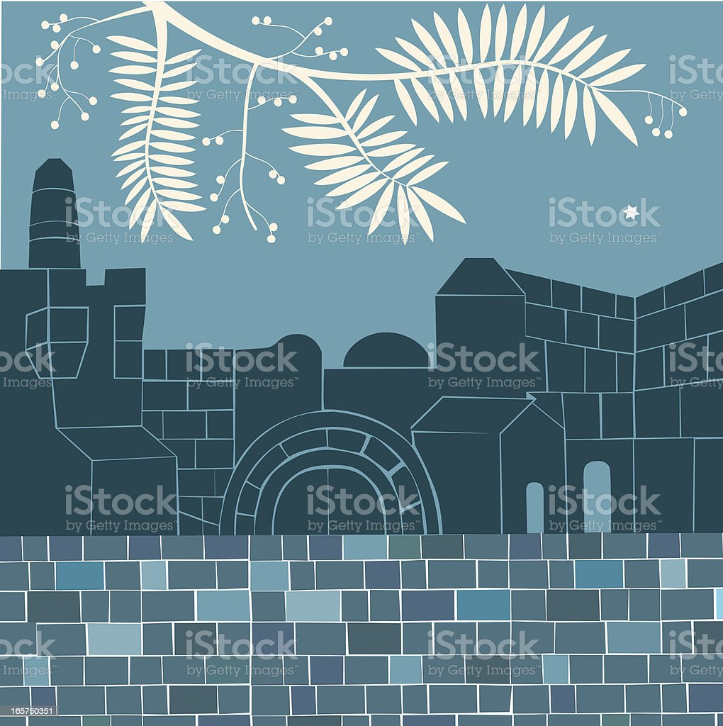 Evening In the Old City, Jerusalem royalty-free evening in the old city jerusalem stock vector art & more images of acacia tree