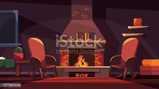 istock Evening interior with fireplace. 1277347410