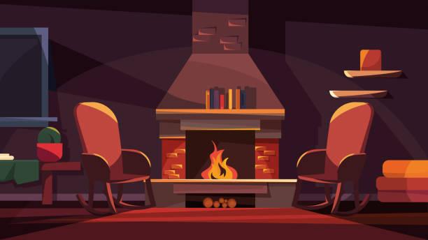 ilustrações de stock, clip art, desenhos animados e ícones de evening interior with fireplace. - braseiro