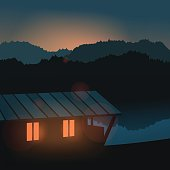 Evening landscape on the river. Vector illustration. Lake house