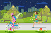 istock Evening Leisure for Parents and Children Big City. 1133694128