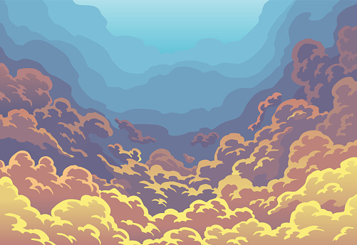 Evening sky clouds. Sunset sky in color with clouds. Realistic background in soft pastel pink and blue colors