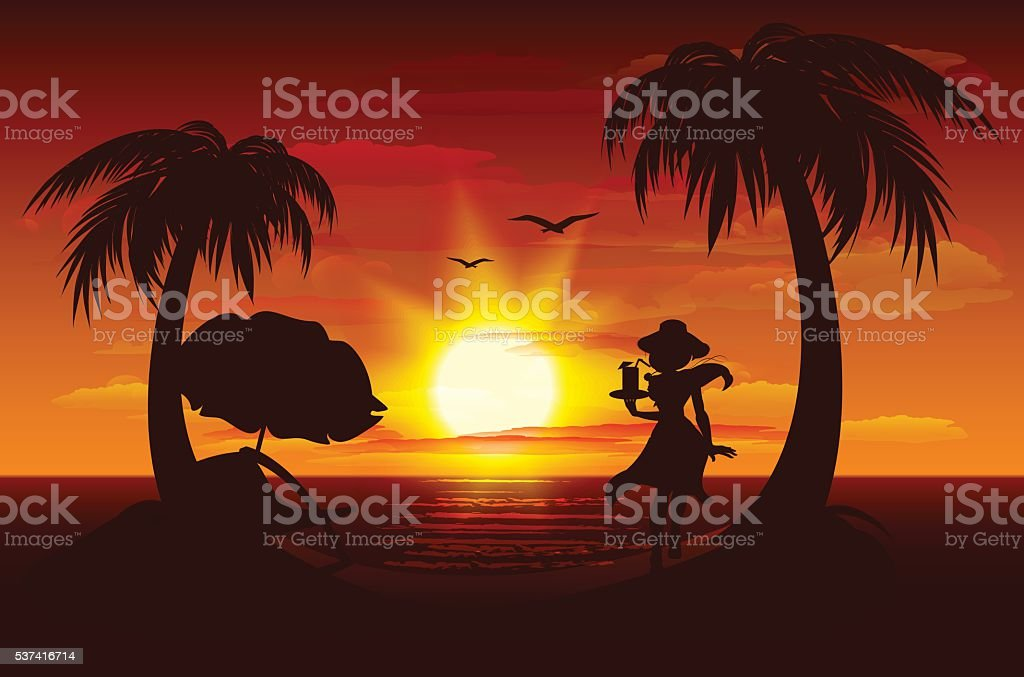 Evening sunset on sea. Sea, palm trees, silhouette of girl vector art illustration