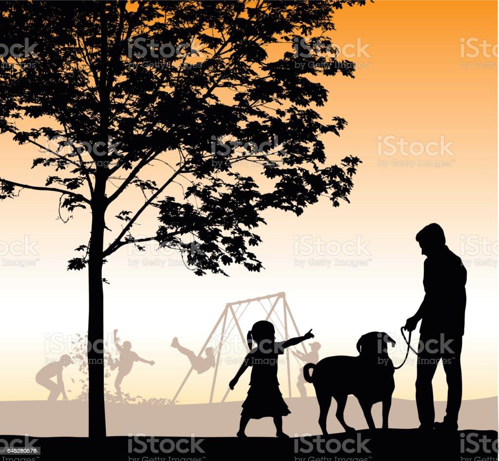 Evening Walk Through The Park vector art illustration