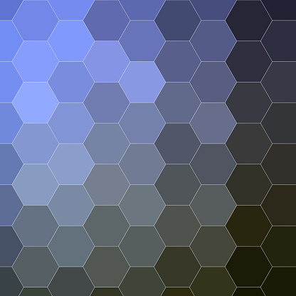 Evenly sized hexagons with global gradient, local solid color. Forming honeycomb.