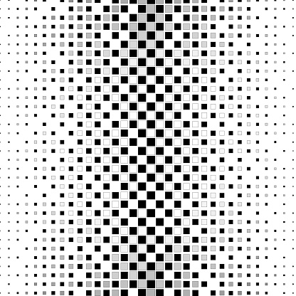 Evenly spaced, but not equally sized, square shape chess pattern. With stroke. Pattern background illustration with gradient and size gradient. On white.