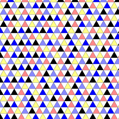Evenly spaced equilateral triangles with random colors from set of five. With stroke outline. Pointing up and down.