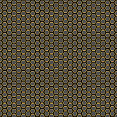 Evenly spaced filled equilateral hexagons with golden stroke. Black background.