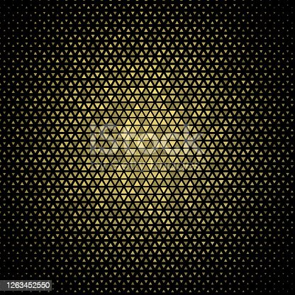 istock Evenly spaced, radial size gradient . Triangle based golden reflection. Pattern background illustration. On black 1263452550