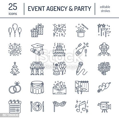 Event agency, wedding organization vector line icon. Party service - catering, birthday cake, balloon decoration, flower delivery, invitation, clown. Thin linear sign of entertainment, team building