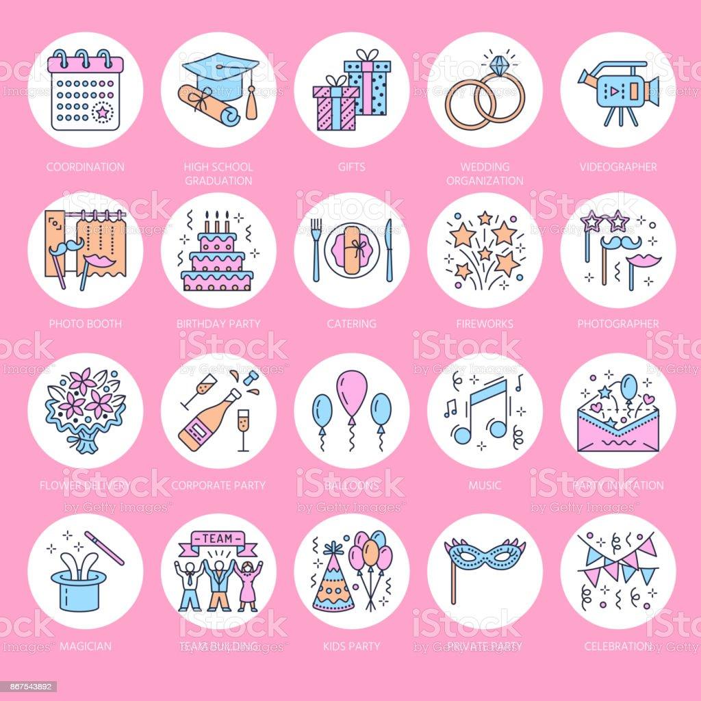 Event Agentur Hochzeit Organisation Vektor Liniensymbol. Partyservice    Catering, Geburtstagstorte, Ballon Dekoration,