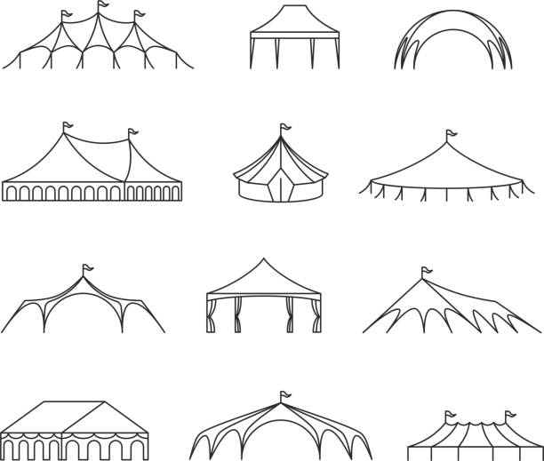 Event and wedding outdoor marquee tents vector line icons Event and wedding outdoor marquee tents vector line icons. Wedding pavilion and shelter roof, marquee and canopy structure, canvas folding illustration pavilion stock illustrations