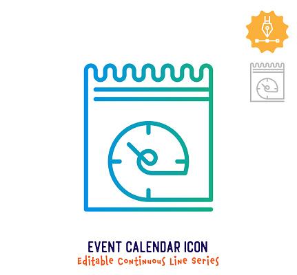 Event Calendar Continuous Line Editable Icon