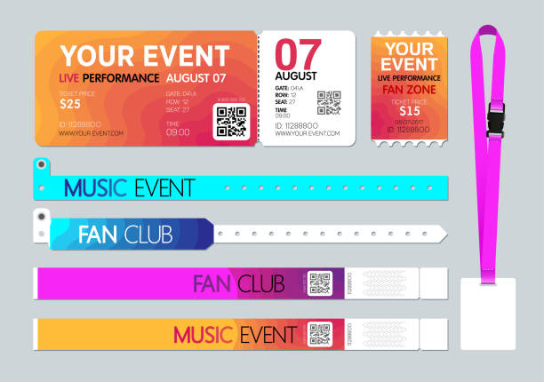 event entrance ticket, badge card holder, and bracelets. live performance entrance. access control design for dance, music, festivals, private areas, concerts or party events. vector - tickets and vouchers templates stock illustrations