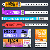 Event entrance vector bracelets and stadium zone admission tickets templates isolated. Bracelet for entry and admit to show concert illustration