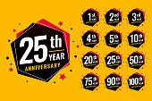 event festive anniversary labels set