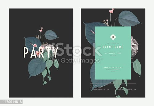 Event invitation card template design, various flowers and leaves art collage, green tones