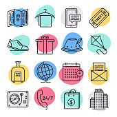 Modern event licenses and season tickets doodle style concept outline symbols. Line vector icon sets for infographics and web designs.