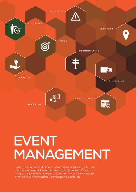 ilustraciones, imágenes clip art, dibujos animados e iconos de stock de gestión de eventos. diseño plantilla de folleto, diseño de la cubierta - suministros escolares
