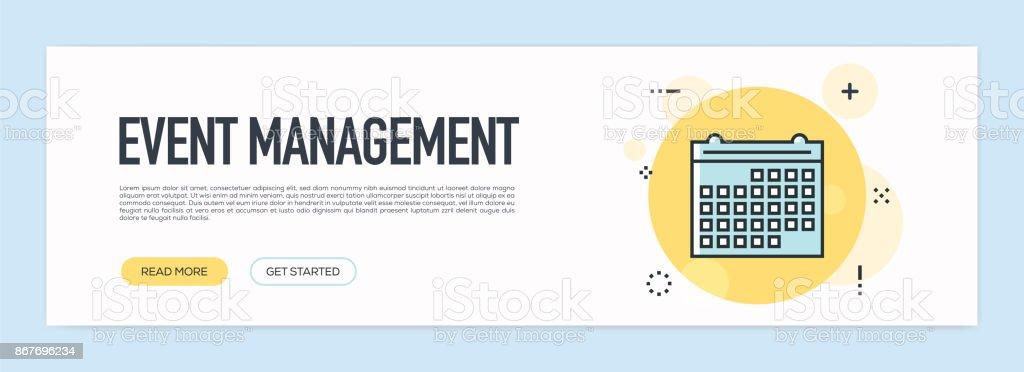 Conceito de gestão de eventos - linha plana Web Banner - ilustração de arte em vetor
