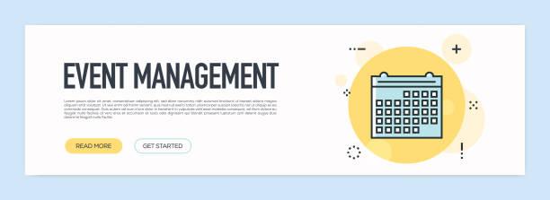 イベント管理コンセプト - フラット ライン web バナー - トレーニングのカレンダー点のイラスト素材/クリップアート素材/マンガ素材/アイコン素材