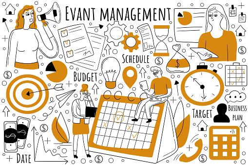 Event management doodle set