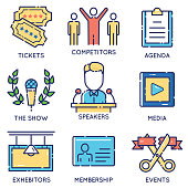 Vector modern stylish flat linear icons set of event management, event service and special event organization for app and web design navigation - part 1