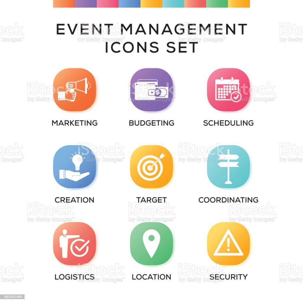 Event Management Icons Set Auf Verlaufshintergrund U2013 Vektorgrafik