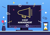 Modern flat design style layout template of event management. Vector illustration concept for printed materials or website and mobile development projects.