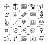 Event and party supplies outline style symbols. Line vector icons set for infographics, mobile and web designs.