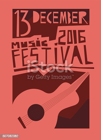istock Event poster or flyer with acoustic guitar. 507082082
