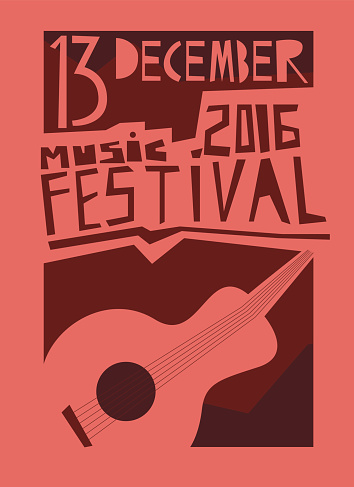 Event poster or flyer with acoustic guitar. Vector flyer