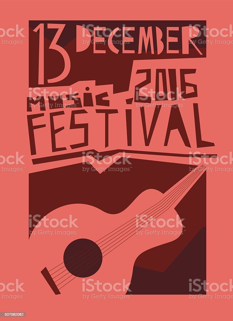Event poster or flyer with acoustic guitar. vector art illustration