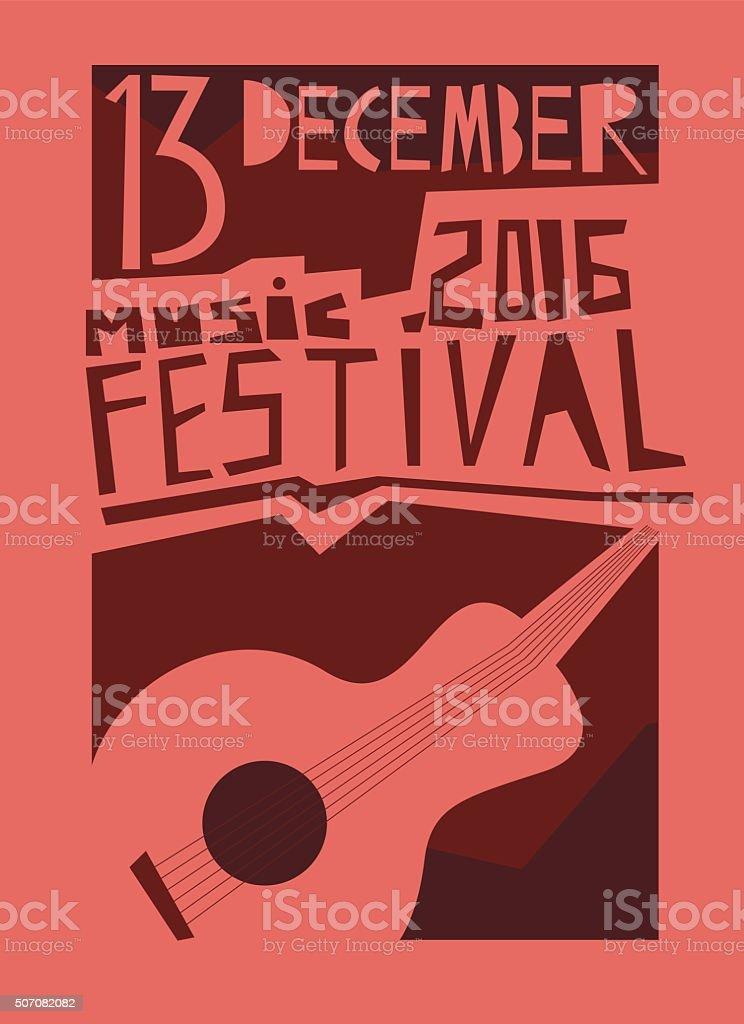 Event poster or flyer with acoustic guitar. vektör sanat illüstrasyonu