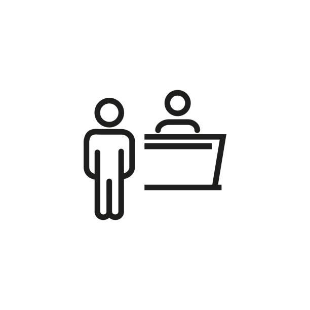 olay alımı satırı simgesi - hotel reception stock illustrations