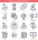 Event services and scheduling icons set. These line style vector illustrations represent events and celebrations.